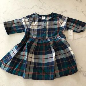 Old navy plaid button dress size 12-18 months